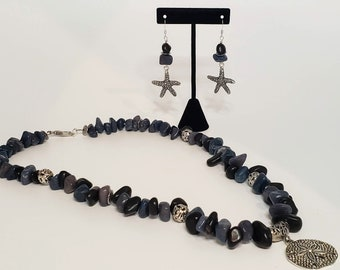 Iolite Stone Bead Earring and Necklace Set