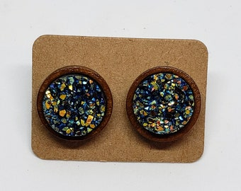 Acrylic and Wood Peacock Color Faux Druzy Earrings