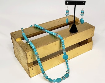 Turquoise Dyed Howlite Stone Earring and Necklace Set