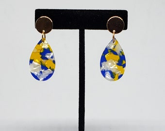 Blue and Yellow Resin Tear Drop Stud Earrings