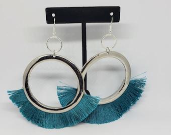 Boho Blue Teal Fringe Earrings