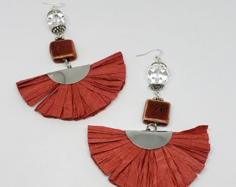 Red Straw and Ceramic Earrings