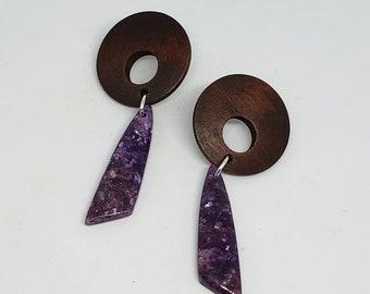 Wood and Dyed Lepidolite Healing Stone Stud Earrings