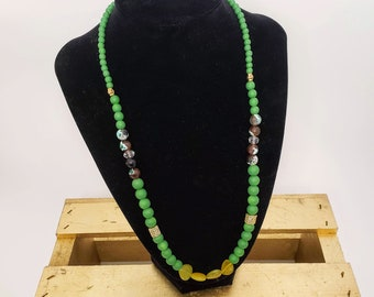 Green Agate and Cubic Zirconia Necklace