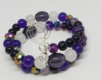 Purple Glass and White Jade Beaded Hand Wired Memory Wire Bracelet