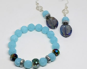 Baby Blue Earring and Bracelet Set