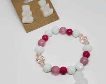 White Gummy Bear Earring and Bracelet Set