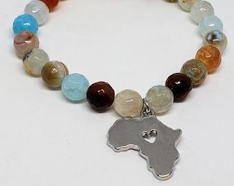 Natural Agate Stone Africa Charm Bracelet