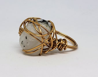 Tumbled Rainbow Moonstone Wire Wrapped Ring