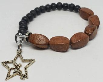 Fairy Charm Wooden Beaded Bracelet