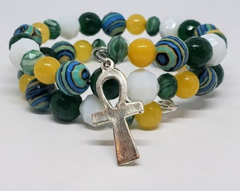 Green, White, Blue, and Yellow Ankh Memory Wire Bracelet