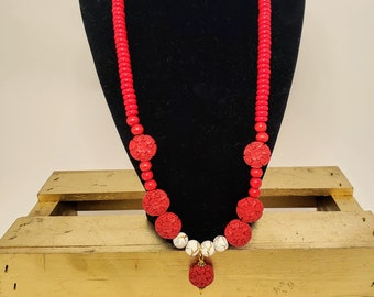 Red Resin and Glass Necklace