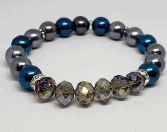 Metallic Glass Crystal Bracelet