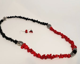 Black and Red Stone Seed Bead Earring and Necklace Set