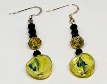 Yellow and Black Bumble Earrings