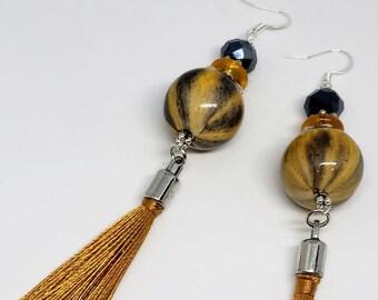 Gold, Black, and Brown Animal Print Earrings