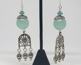 Antiqued Baby Blue Glass Earrings
