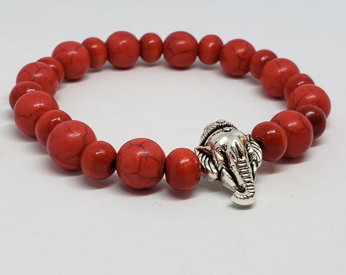 Featured listing image: Red Stone and Wood Elephant Charm Bracelet