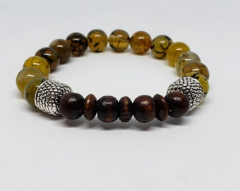 Dragon Agate and Wood Bracelet