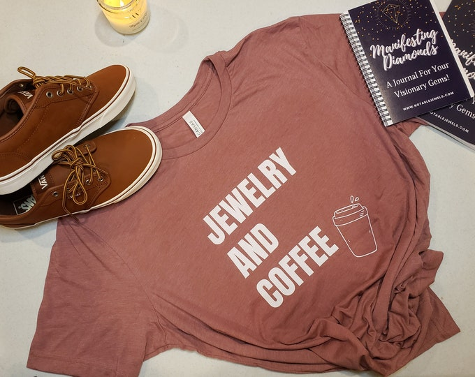 Featured listing image: Jewelry and Coffee Front and Back Unisex Jersey Short Sleeve Tee