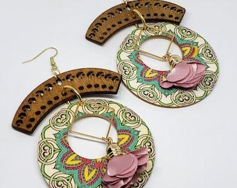Wooden Floral Boho Earrings