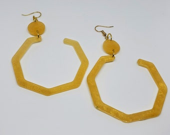 Resin Honey Colored Partial Octagon Earrings