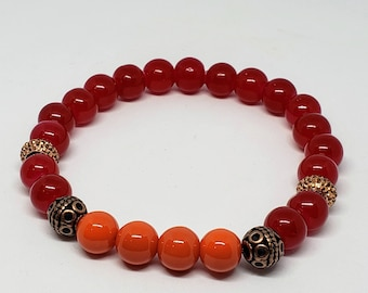 Red and Orange Glass and Copper Beaded Bracelet