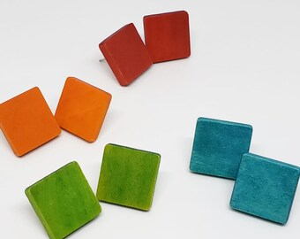 Wooden Square Stud Earrings 1 inch