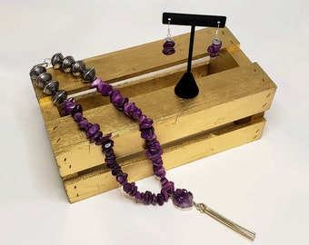 Amethyst and Purple Marble Necklace and Earring Set