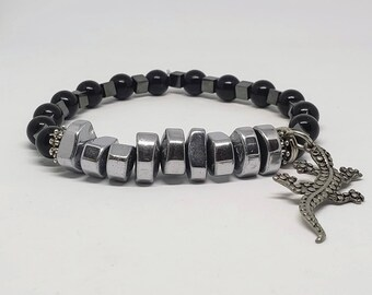 Hematite on Hematite Lizard Bracelet