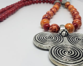 Red and Orange Beaded Tribal Swirl Pendant Necklace