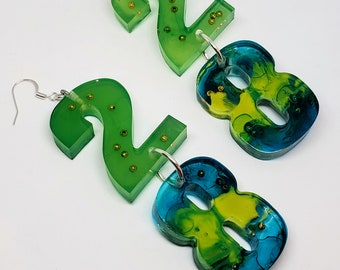 Custom Resin Birthday and Word Earrings With or Without Filler Request