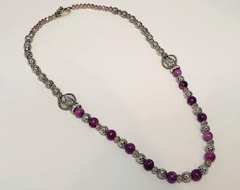 Purple Crystal Metal Beaded Necklace