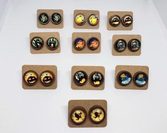 Halloween 12mm Stud Earrings Wood Base Various Designs