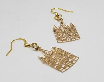 Fairy Tale Castle Golden Earrings