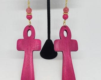 Ankh Wooden Pink Earrings