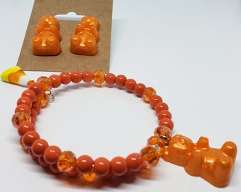 Halloween Orange Resin Gummy Bear Earrings and Candy Corn Wrap Around Memory Wire Bracelet Set