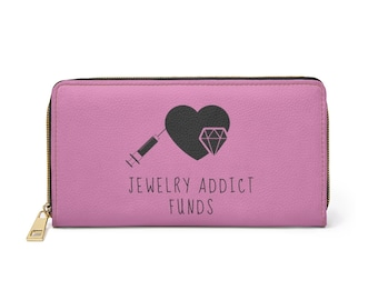 Mauve Pink Jewelry Addict Faux Leather Zipper Wallet