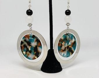 Resin and Metal Circle Earrings White Jade Stone