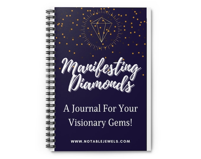 Featured listing image: Manifesting Diamonds Notable Jewels Spiral Bound Manifestation Vision Board Notebook Journal - Ruled Line