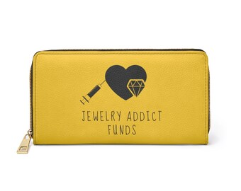 Golden Faux Leather Jewelry Addict Zipper Wallet