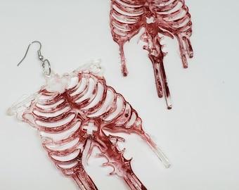 Resin Halloween Bloody Skeleton Dangle Earrings Made to Order