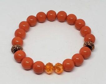 Kid Size Orange Glass Bracelet