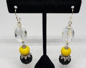 Glass Yellow and Black Dangle Earrings