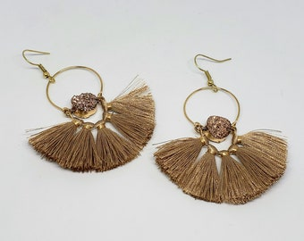 Golden Faux Druzy Tassel Earrings