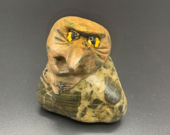 Desk Flair Monster Pet Rock Sculpture no. 32 Monster Creature Rock Pal Funky Eyes