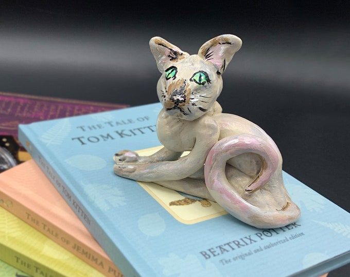 Cat Sculpture Art Office Desk Accessories Shelf Decor Scrabble Gifts Shelf Decorations for Living Room Original Sculpture Art ooak Sculpture