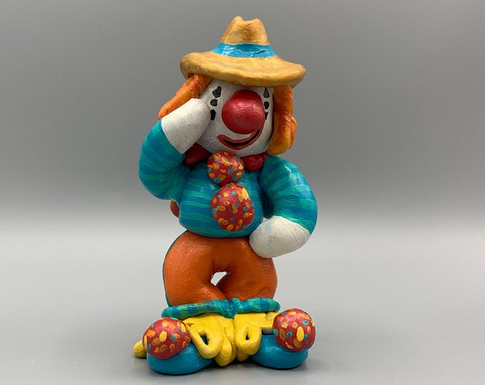 Swanky Hippy Circus Clown Office Desk Decor Fun Unique Sculpture Shelf Decor Nursery Sculpture Abstract Sculpture Modern Display Artwork