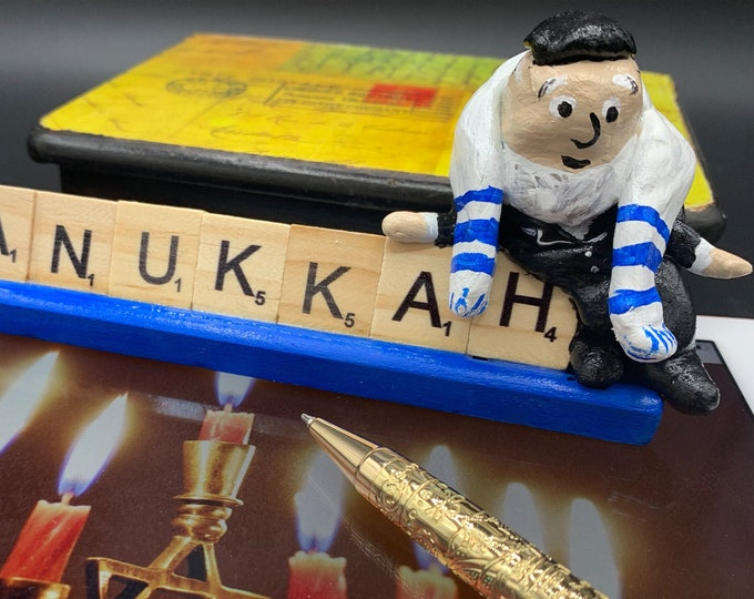 Hanukkah Scrabble Gifts Office Desk Accessories Jewish Gifts Sculpture Art Shelf Decor People Sculptures Funny Office Art Desk Sculpture