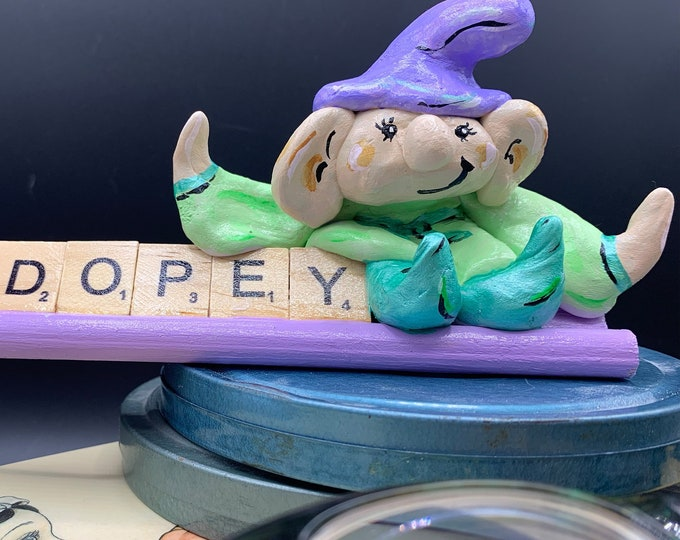 Dopey Snow White Scrabble Gifts Sculpture Art Shelf Decor Office Desk Accessories OOAK People Sculptures Desk Small Sculpture Gift